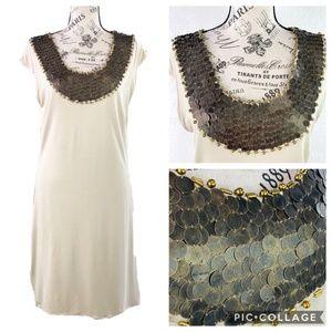 Boston Proper Beige Dress w/ Metal Beading M NWOT